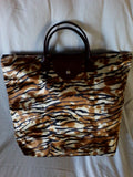 Victoria - Foldable satin tote bag gold/brown circles or tiger print - Filliae store
