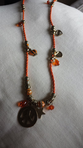Selina - Hippy chic long orange charms necklace - Filliae store