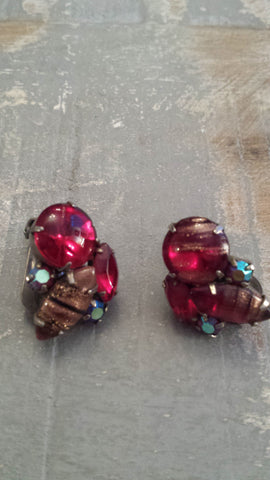Nicole - beautiful red Venetian glass vintage clip-on earrings - Filliae store
