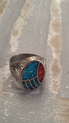 Toni - big chunky silver coloured (may be actual silver) textured vintage ring with turquoise and red inlay - Filliae store