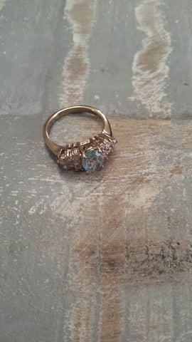 Shakira - faux aquamarine stone surrounded by bling very eyecatching vintage ring - Filliae store