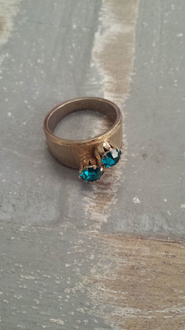Solange - lovely shade of turquoise double stones on a thick textured band. - Filliae store