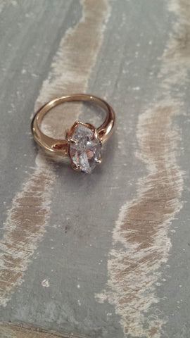 Patricia - marquise shaped CZ very light catching vintage ring - Filliae store