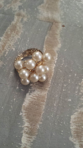 Tamara - lovely faux pearl cluster on thin multi wire bands showing wear nicely from age. - Filliae store