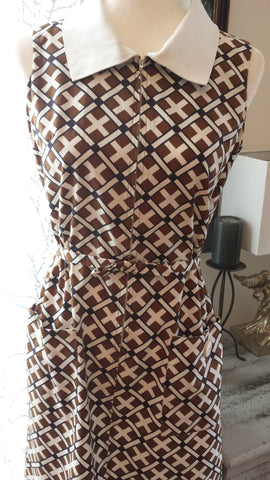 Trudy - vintage 1960s brown plaid custom made dress