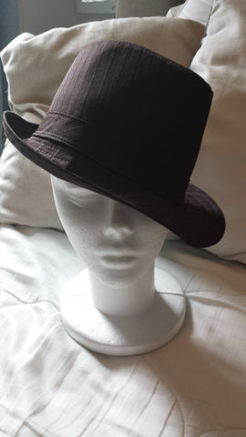 Zenith - brown tone on tone striped Fedora hat