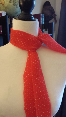 Simonetta - super cute red chiffon swiss dot scarf