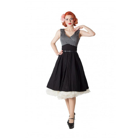 Valerie - Black Polka Dot Edged Swing Dress - Filliae store