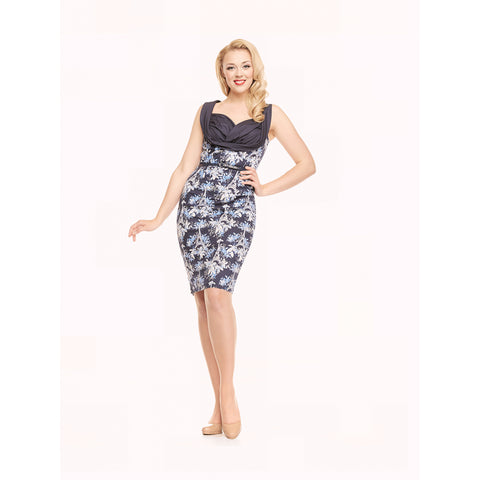 Vanessa - Eiffel Floral Print Navy Wiggle Dress - Filliae store