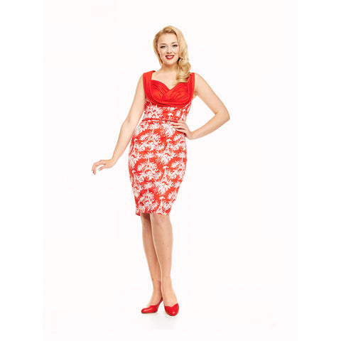 Vanessa - Eiffel Floral Print Red Wiggle Dress - Filliae store