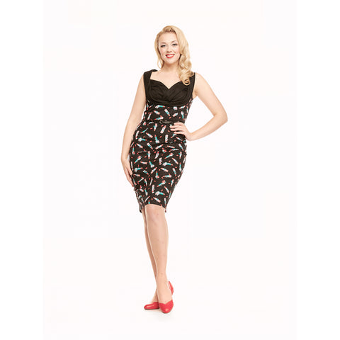 Vanessa - Lipstick Print Black Wiggle Dress - Filliae store