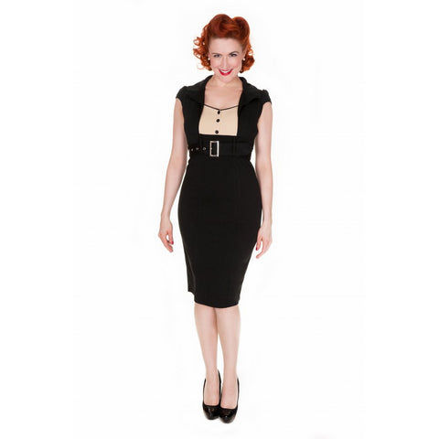 Wynona - Chic Vintage 1950's Secretary Style Black Pencil Wiggle Dress - Filliae store