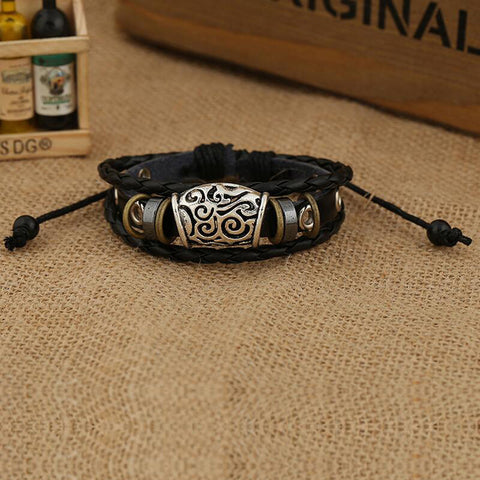 ANTIQUE SILVER PLATED CHARM LEATHER BRACELET