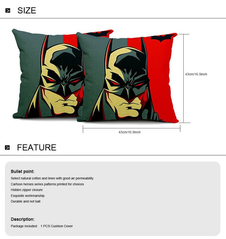 batman cushion cover size