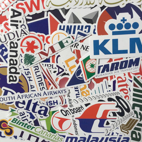 52 Pieces Airlines Logo Stickers - Eleven Gift