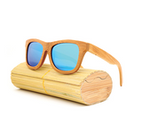 Baverly - Light Bamboo Sunglasses with Sky Blue Polarized Lens - Eleven Gift