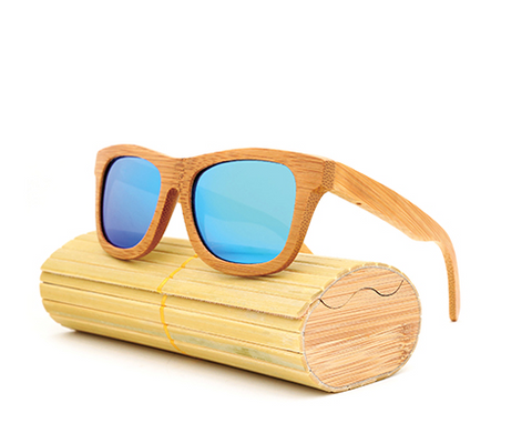 Baverly - Light Bamboo Sunglasses with Sky Blue Polarized Lens