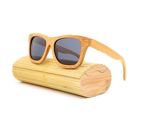 Baverly - Light Bamboo Sunglasses with Shadow Gray Polarized Lens - Eleven Gift