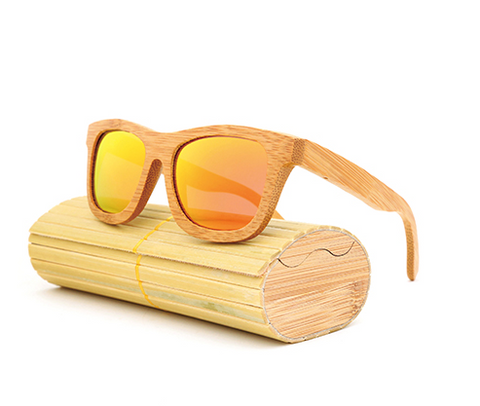 Baverly - Light Bamboo Sunglasses with Sunset Orange Polarized Lens