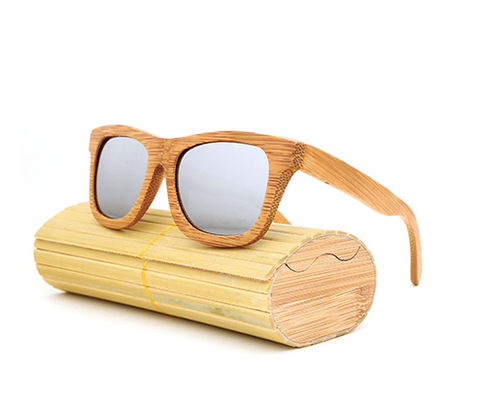 Baverly - Light Bamboo Sunglasses with Silver Polarized Lens - Eleven Gift