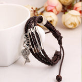 Angel Wing Charm Leather Bracelet