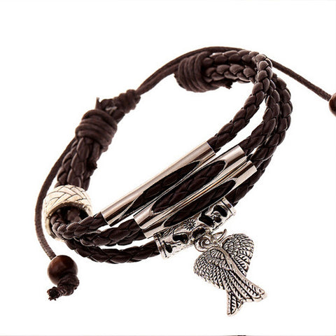 Angel Wing Charm Leather Bracelet - Eleven Gift