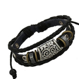 Antique Silver Plated Charm Leather Bracelet - Eleven Gift