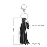 Black Agate With Leather Tassel Keychain - Eleven Gift