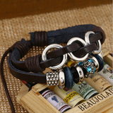 Blue Crystal Leather Bracelet - Eleven Gift
