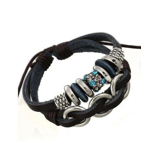 Blue Crystal Leather Bracelet