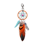 Dreamcatcher Natural Orange Feather Keychain - Eleven Gift
