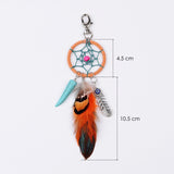 Boho Natural Orange Feather Keychain