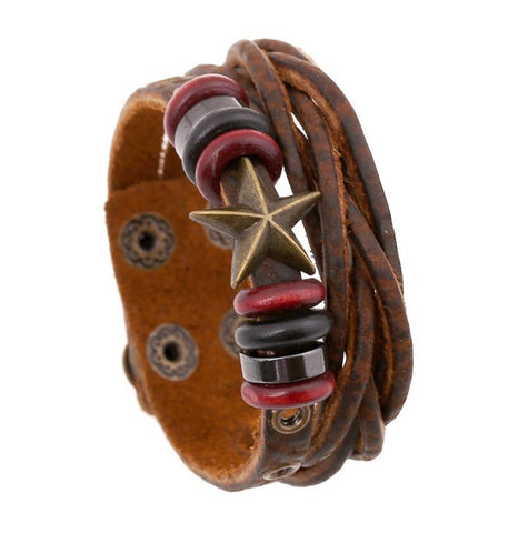 Bronze Starfish Leather Bracelet - Eleven Gift