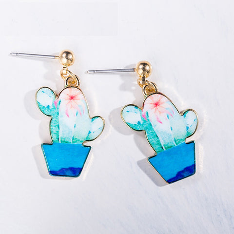 Cactus Earrings - Blue - Eleven Gift