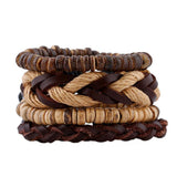 Coconut Shell Beads Surfer Leather Bracelet Set