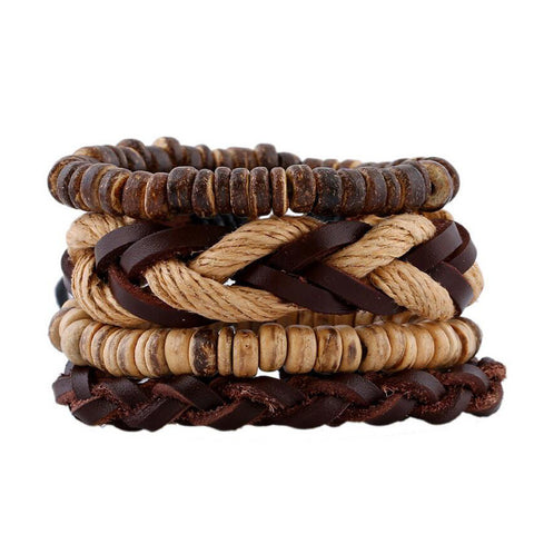 Coconut Shell Beads Surfer Leather Bracelet Set - Eleven Gift