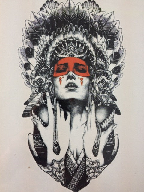 Cool red indian sticker tattoo eleven gift