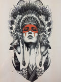 Cool Red Indian Sticker Tattoo - Eleven Gift