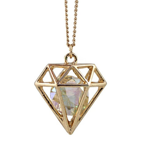 Crystal Diamond Shaped Pendant - Eleven Gift