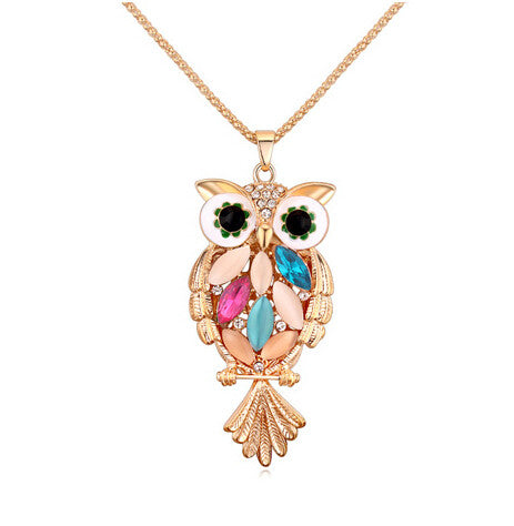 Crystal Owl Necklace - Gold
