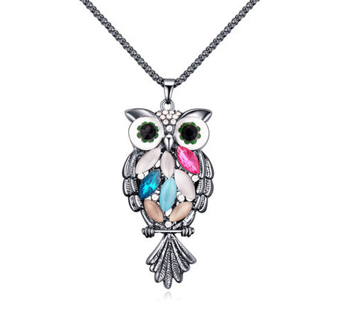Crystal Owl Necklace - Silver