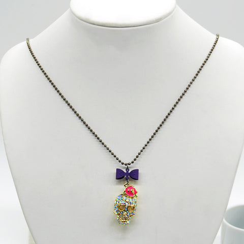 Crystal Rhinestone Sugar Skull Necklace - Eleven Gift