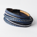 Double Layer Leather Bracelet - Blue - Eleven Gift