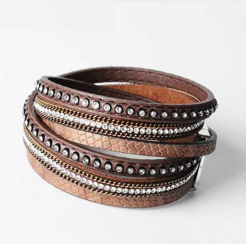 Double Layer Leather Bracelet - Brown