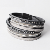 Double Layer Leather Bracelet - Grey - Eleven Gift