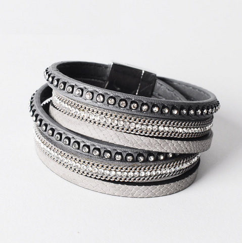 Double Layer Leather Bracelet - Grey