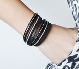 Double Layer Leather Bracelet - Black - Eleven Gift