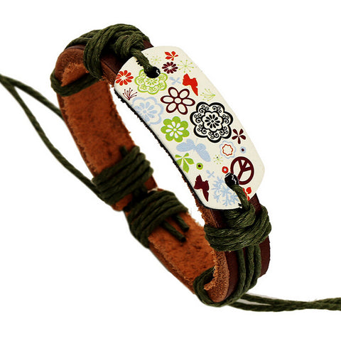 Fancy Henna Flower Paint Leather Bracelet - Eleven Gift