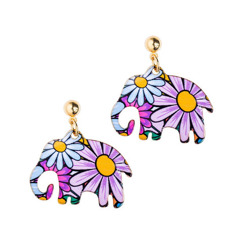 Flower Elephant Earrings