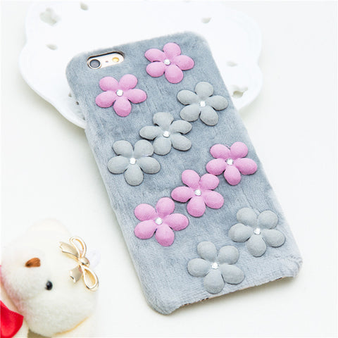 Fuzzy Flower iPhone Case - Gray